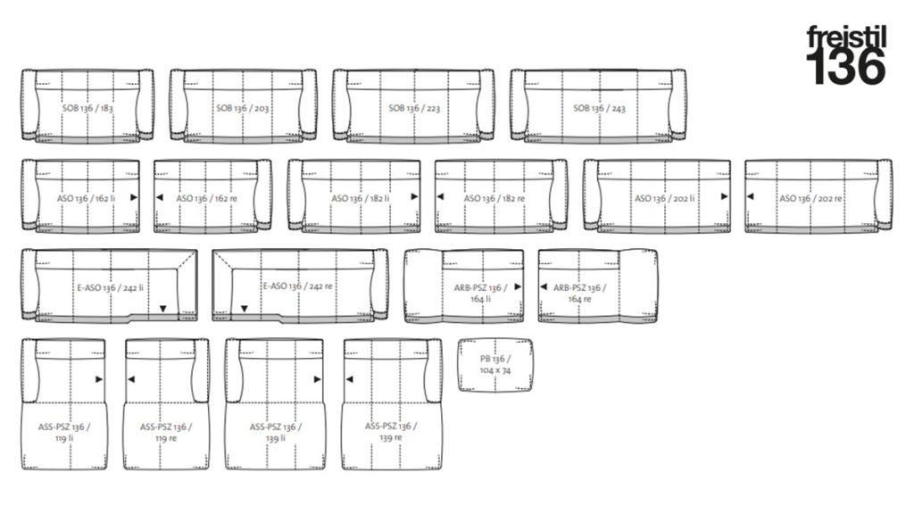 Der freistil 136 Baukasten bietet zahlreiche Möglichkeiten zur individuellen Sofa-Gestaltung.